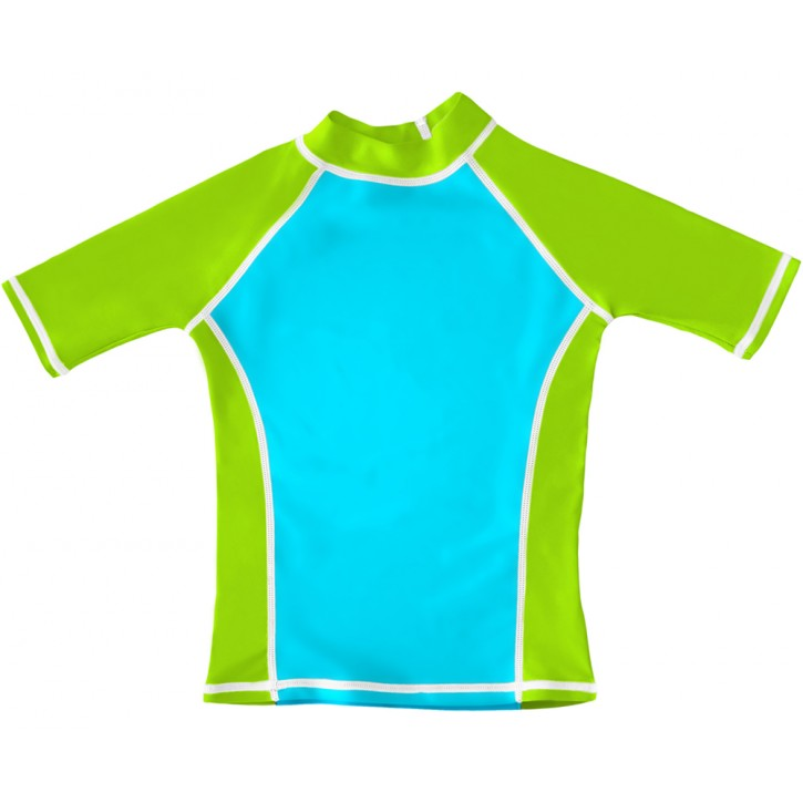 Turquoise / Lime UV Short Sleeve Swim Shirt